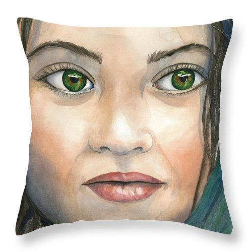 Captivating Eyes Throw Pillow featuring the painting Hope by Michal Madison