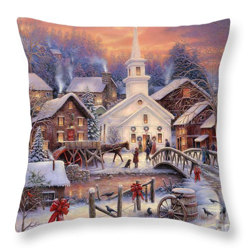 Snow Village Throw Pillow featuring the painting Hope Runs Deep by Chuck Pinson