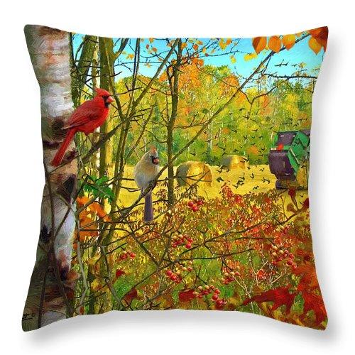 Hoping For Leftovers By Doug Kreuger Throw Pillow featuring the painting Hoping For Leftovers by Doug Kreuger