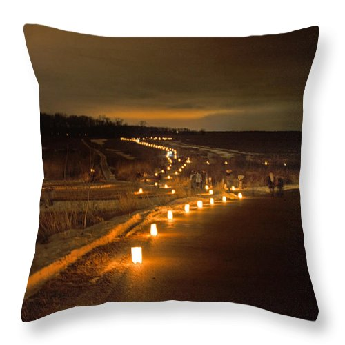 Horicon Throw Pillow featuring the photograph Horicon Marsh Candlelight Snow Shoe/hike by Jayne Gohr