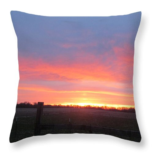Sun Throw Pillow featuring the photograph Horizon And Sunrise by Tina M Wenger
