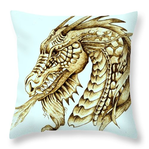 Dragon Throw Pillow featuring the pyrography Horned Dragon by Danette Smith