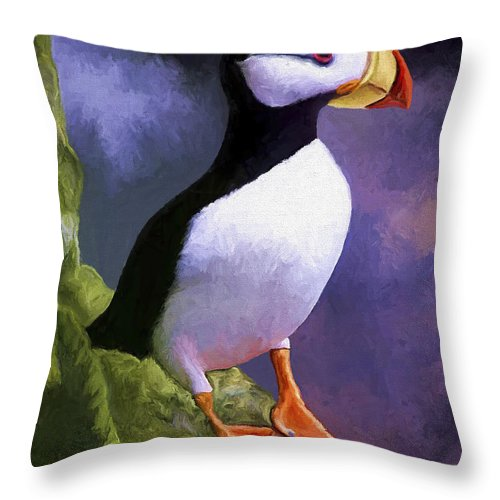 Animal Throw Pillow featuring the painting Horned Puffin by David Wagner