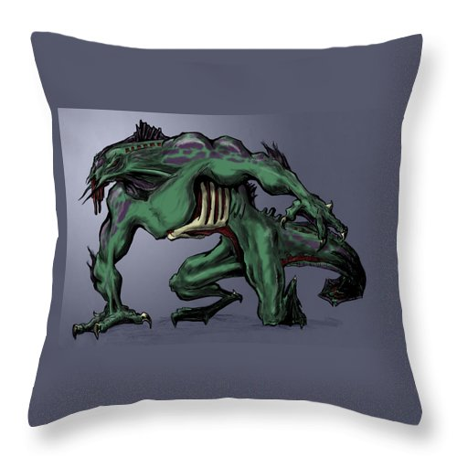 Horrid Throw Pillow featuring the digital art Horrid Creature by Jeffrey Oleniacz