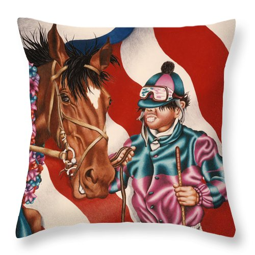Horse Throw Pillow featuring the painting Horse And Jockey by Michael Andrew Frain