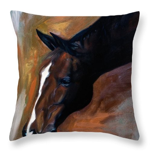 Horse Throw Pillow featuring the painting horse - Apple copper by Go Van Kampen