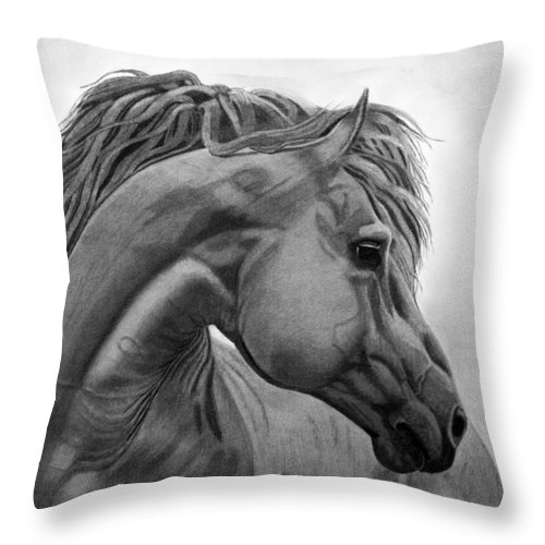Horse Throw Pillow featuring the drawing Horse by Byron Moss