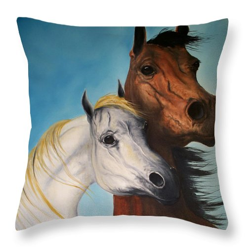 Horse Throw Pillow featuring the painting Horse Lovers by Patrick Trotter