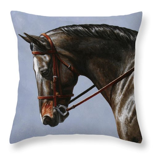 Horse Throw Pillow featuring the painting Horse Painting - Discipline by Crista Forest
