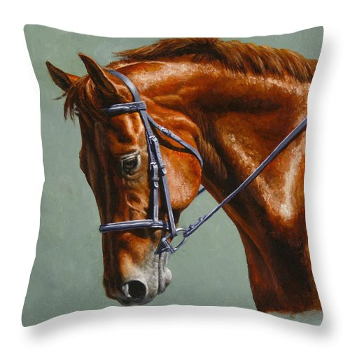 Horse Throw Pillow featuring the painting Horse Painting - Focus by Crista Forest