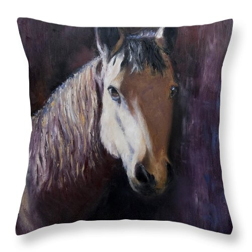 Horse Painting Throw Pillow featuring the painting Horse Painting by Terri Meyer
