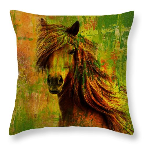 Horse Throw Pillow featuring the painting Horse Paintings 001 by Catf