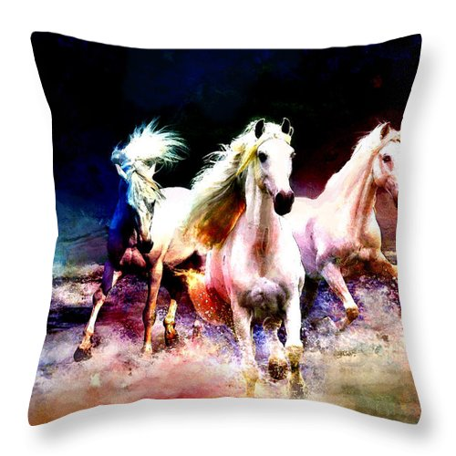 Horse Throw Pillow featuring the painting Horse Paintings 002 by Catf
