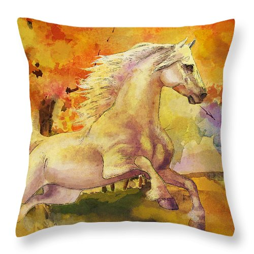 Horse Throw Pillow featuring the painting Horse Paintings 003 by Catf