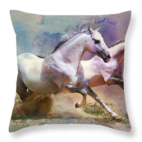 Horse Throw Pillow featuring the painting Horse Paintings 004 by Catf