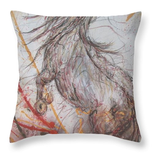 Western Abstract Throw Pillow featuring the painting Horse Play by Stacey Dykeman