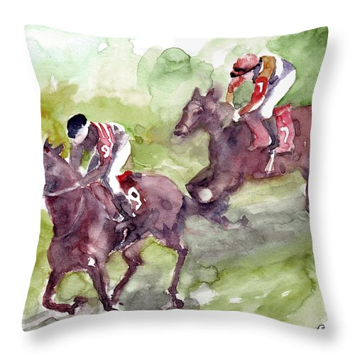 Horse Throw Pillow featuring the painting Horse Racing by Faruk Koksal