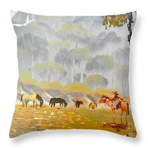 Impressionism Throw Pillow featuring the painting Horses Drinking In The Early Morning Mist by Pamela Meredith