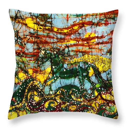 Horse Throw Pillow featuring the tapestry - textile Horses Frolic Above The Sea by Carol Law Conklin