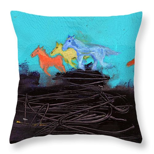 New Mexico Throw Pillow featuring the painting Horses Running On The Pass by Niya Christine