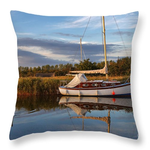 Travel Throw Pillow featuring the photograph Horsey Mere In Evening Light by Louise Heusinkveld