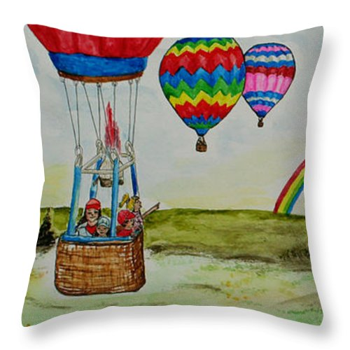 Hot Air Throw Pillow featuring the painting Hot Air Balloon Rainbow by Janis Lee Colon