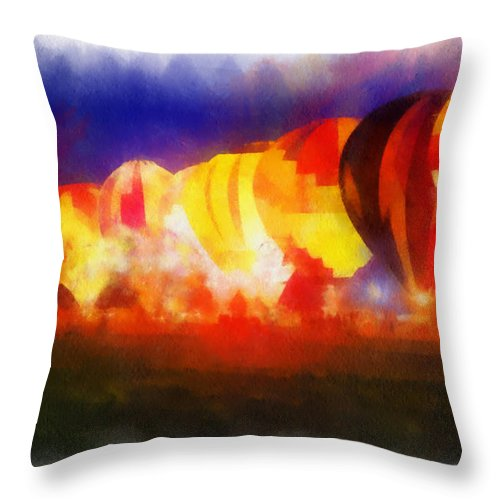 Adventure Throw Pillow featuring the photograph Hot Air Balloons Night Glow Photo Art 01 by Thomas Woolworth