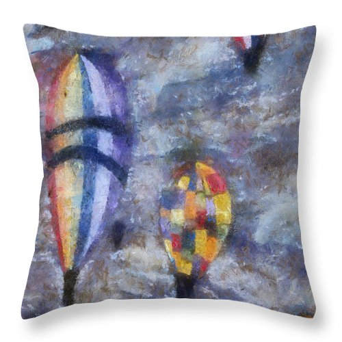 Adventure Throw Pillow featuring the photograph Hot Air Balloons Photo Art 02 by Thomas Woolworth