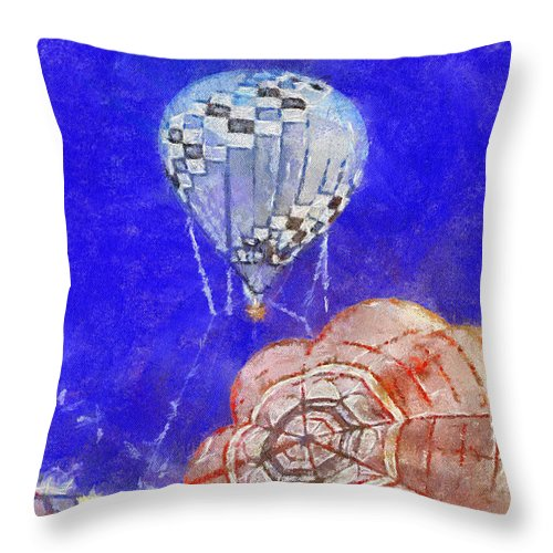 Adventure Throw Pillow featuring the photograph Hot Air Balloons Photo Art 04 by Thomas Woolworth