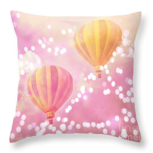 Hot Air Balloons Surreal Dreamy Baby Pink Yellow Hot Air Balloon Art