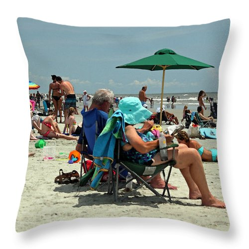 Digital Art Throw Pillow featuring the photograph Hot Day At The Beach II by Suzanne Gaff