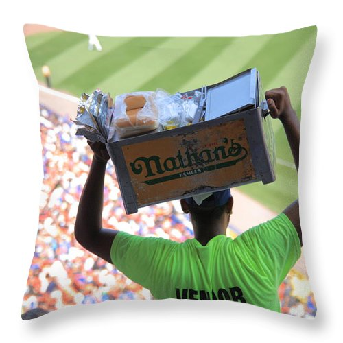 America Throw Pillow featuring the photograph Hot Dog Vendor by Frank Romeo