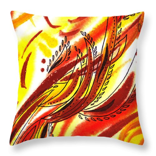 Abstract Throw Pillow featuring the painting Hot Lines Twist Abstract by Irina Sztukowski