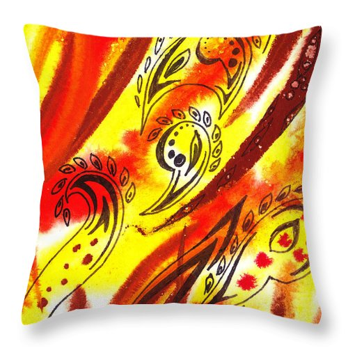 Abstract Throw Pillow featuring the painting Hot Moving Lines And Dots Abstract by Irina Sztukowski