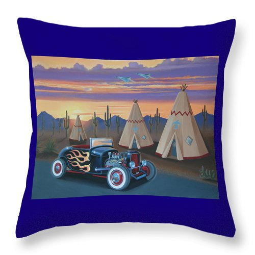 Hot Rod Throw Pillow featuring the painting Hot Rod At The Wigwams by Stuart Swartz