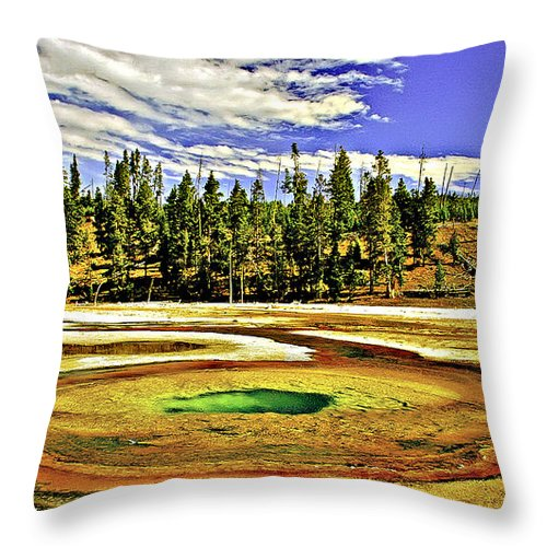 Abstract Throw Pillow featuring the photograph Prismatic Geyser Yellowstone National Park by Bob and Nadine Johnston