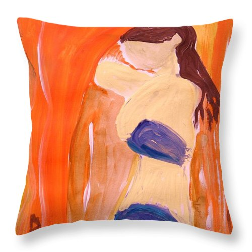 Woman Throw Pillow featuring the painting Hot Summer Day by Mary Carol Williams