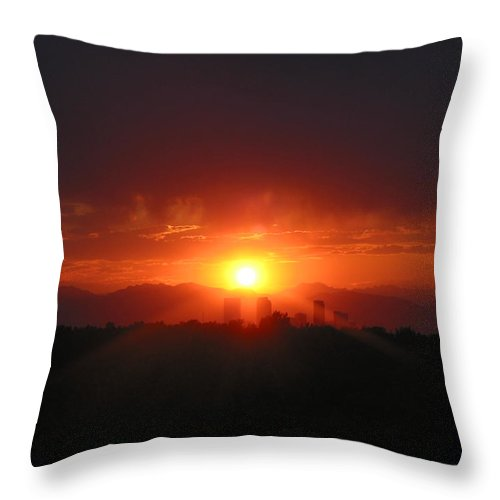 Denver Co Sunset Throw Pillow featuring the photograph Hot Summer Nighti IIi Denver Co by Jacqueline Russell