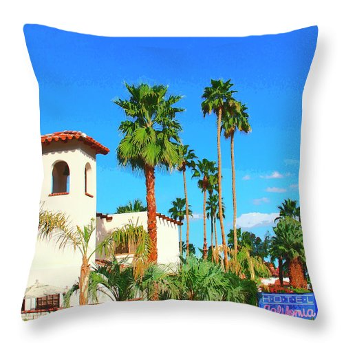 Hotel California Throw Pillow featuring the photograph Hotel California Palm Springs by William Dey