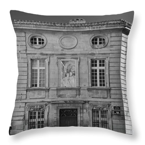 Black And White Throw Pillow featuring the photograph Hotel De Brantes - Avignon France by Allen Sheffield