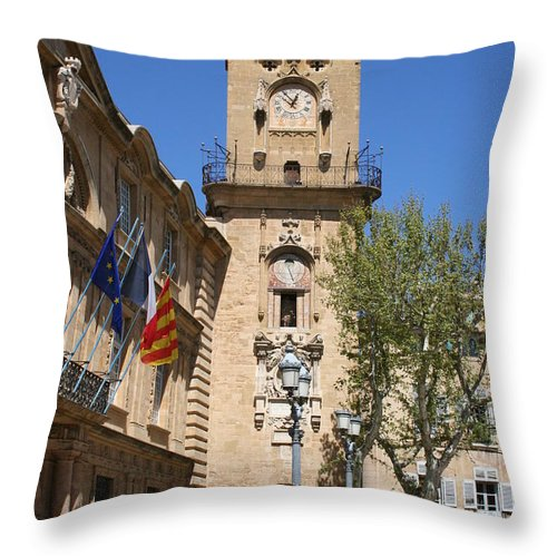 City Hall Throw Pillow featuring the photograph Hotel De Ville - Aix En Provence by Christiane Schulze Art And Photography