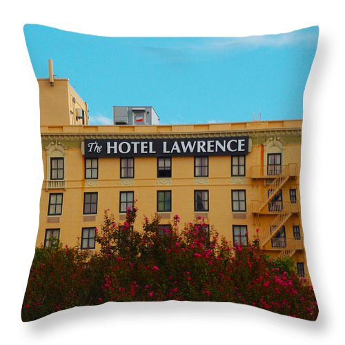 Dallas Throw Pillow featuring the photograph Hotel Lawrence by Brandi Christon