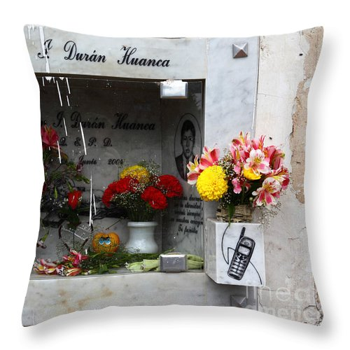 Cemetery Throw Pillow featuring the photograph Hotline To The Afterlife 2 by James Brunker
