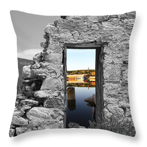 Montages Throw Pillow featuring the photograph Houghton Through The Magic Door by Greg Wells