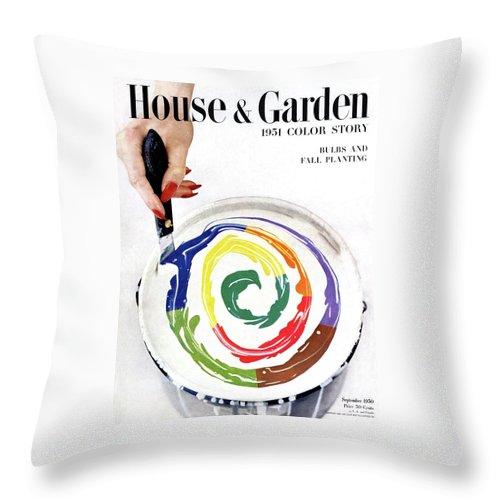 House & Garden Throw Pillow featuring the photograph House & Garden Cover Of A Woman's Hand Stirring by Herbert Matter