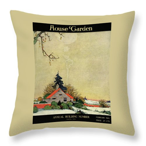 House And Garden Throw Pillow featuring the photograph House And Garden Annual Building Number Cover by Charles Livingston Bull