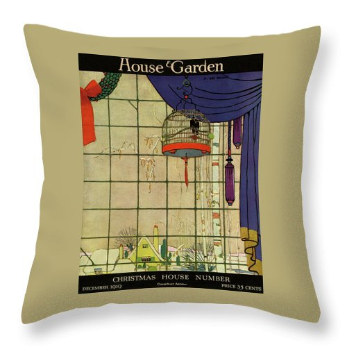 House And Garden Throw Pillow featuring the photograph House And Garden Christmas House Number Cover by H. George Brandt