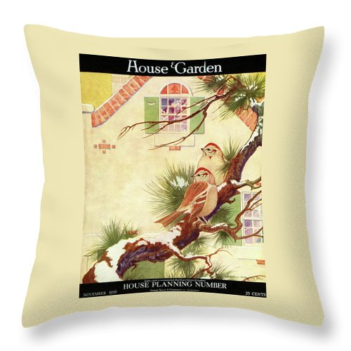 Illustration Throw Pillow featuring the photograph House And Garden Cover by Charles Livingston Bull