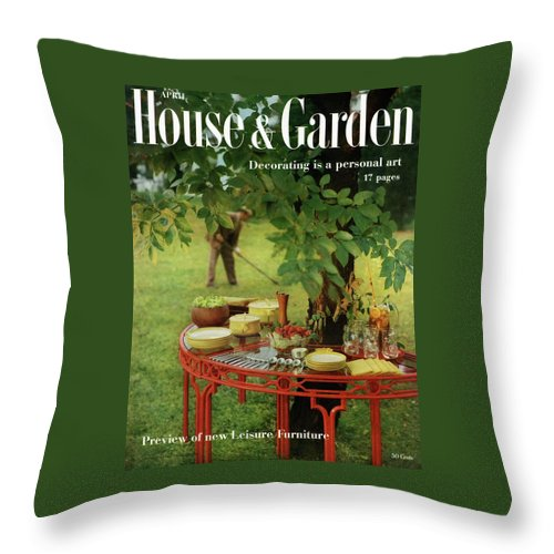 Landscape Throw Pillow featuring the photograph House And Garden Cover by Horst P. Horst