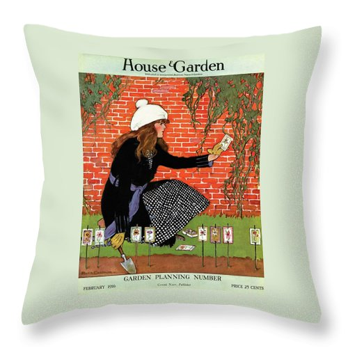 House And Garden Throw Pillow featuring the photograph House And Garden Garden Planting Number Cover by Ruth Easton